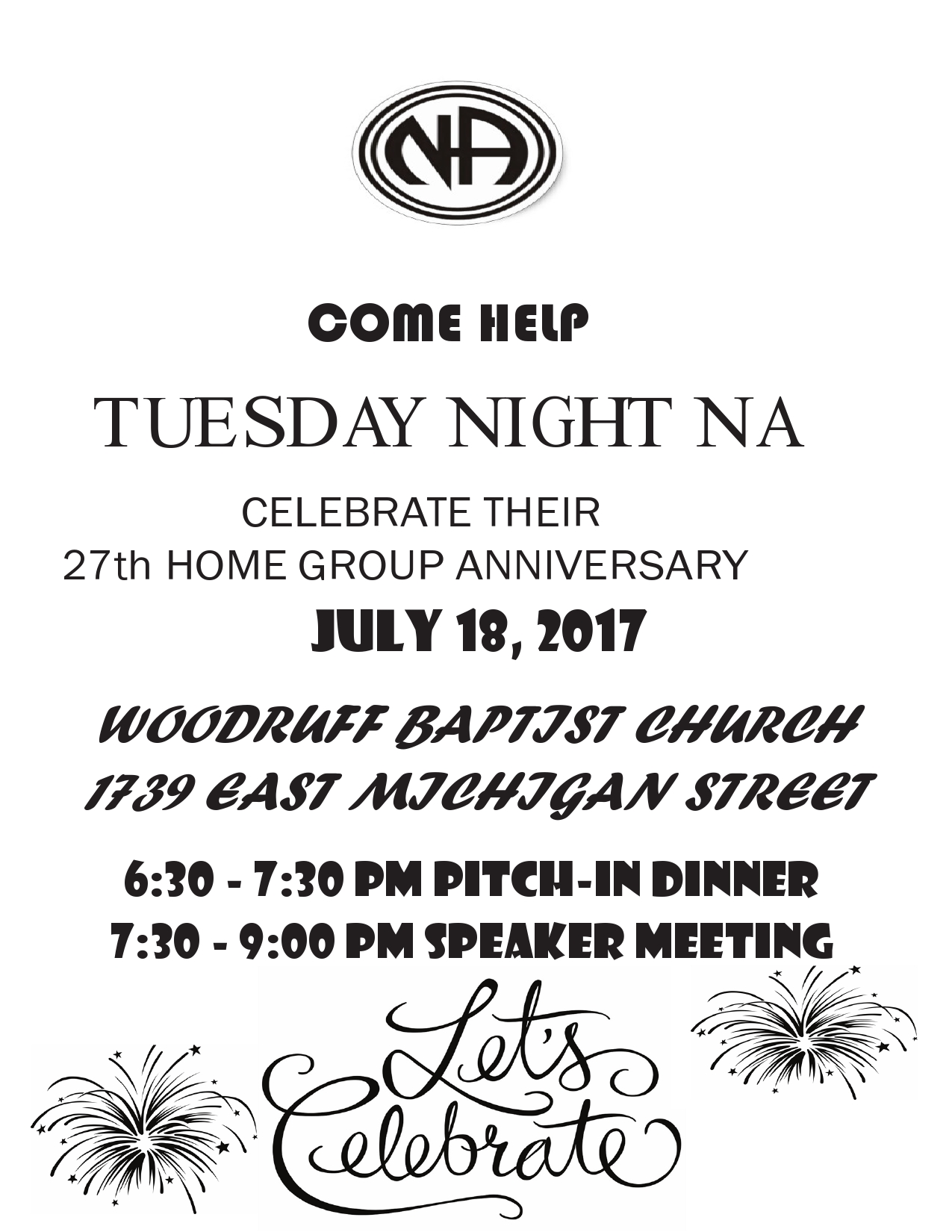 Tuesday Night NA 27th Home Group Anniversary - CIANA